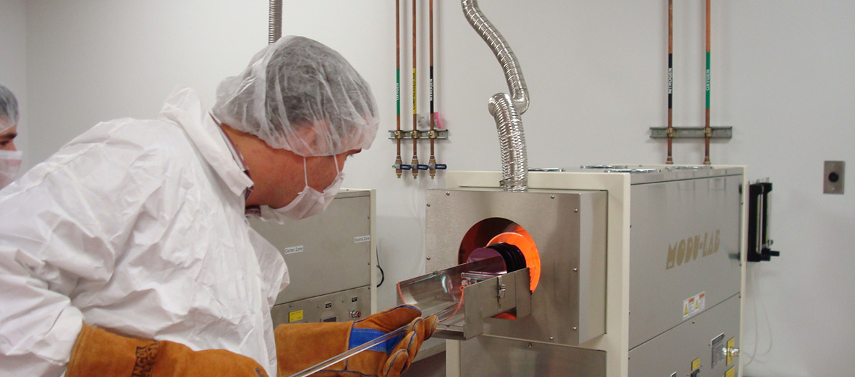 Student working in a semiconductor lab