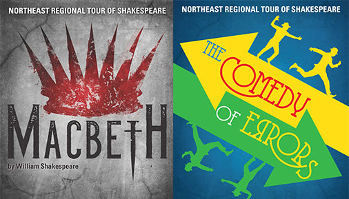 "Shakespeare and Company promotional posters for ""Macbeth"" and ""The Comedy of Errors"""